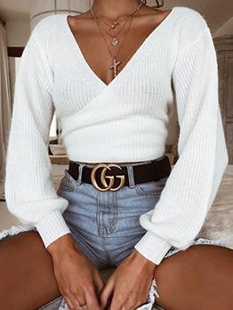 Hot Sale V Neck Lantern Sleeve Short Knitting Sweater