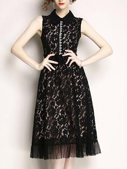 Lace Beading Ruffles Sleeveless Dresses