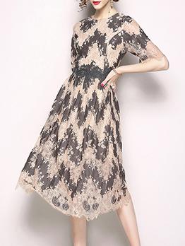 Graceful Hot Sale Colorblock Lace Large Hem Dress
