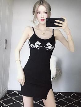 Sexy Printed Fitted Split Hem Straps Back Dress
