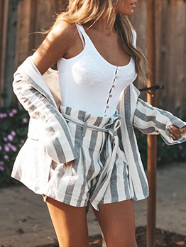 Striped Bandage Long Sleeve Casual 2 Pieces Sets
