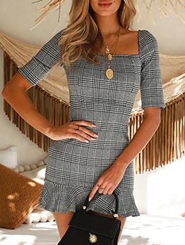 Vintage Square Neck Plaid Ruffles Short Sleeve Mini Dresses