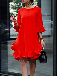 Ruffles Loose Chiffon Short Sleeve Dresses