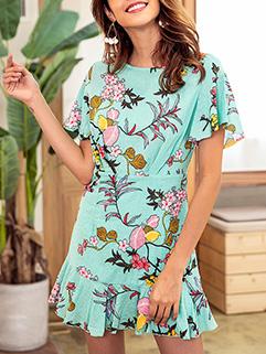 Floral O-neck Ruffles Loose Short Sleeve Dresses
