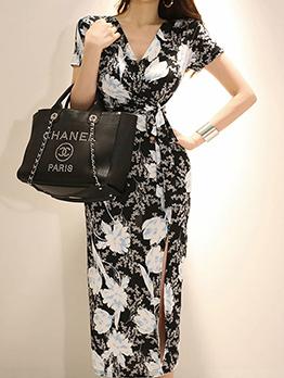 Pretty Floral Slit V-neck Fitted Dresses