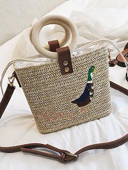 Fashion Embroidery Straw Beach Handbag