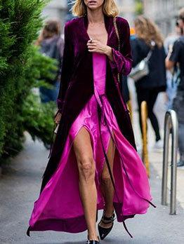 Euro Catwalk Long Sleeve Solid Cardigan Coat