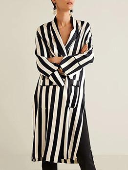 Fashion Striped Tie-wrap Women Coat