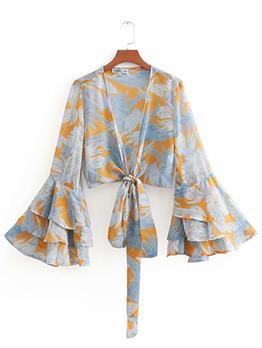 Summer Tie-wrap Flare Sleeve Blouse