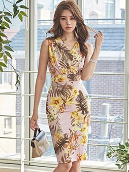 Hot Sale V Neck Floral Split Hem Fitted Dress