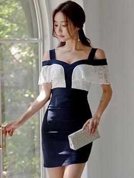 Sexy Off Shoulder Colorblock Lace Patchwork Dress