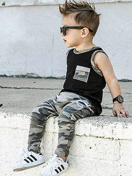 Sleeveless Camouflage Long Pants Boys Sets