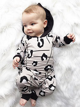 Fashion Printed Hooded Collar Baby Romper