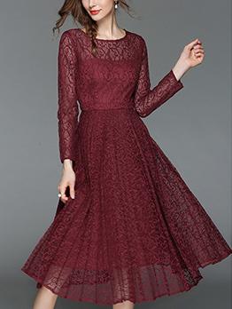 Euro Hot Sale Long Sleeve Lace Pleated Dress
