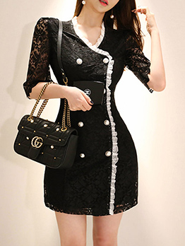 Korean V Neck Double-breasted Lace Dress