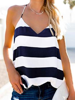Cozy Striped V-neck Contrast Color Camisoles
