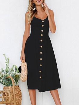 Sexy Single-breasted V-neck Straps Dresses