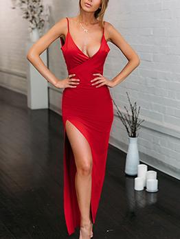 Seductive Low-cut Slit Maxi Dresses