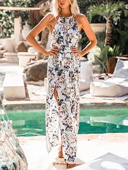 Attractive Floral Slit Halter Dresses