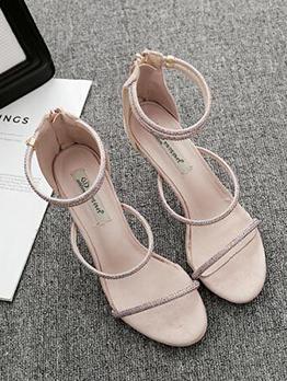 Korean Thin Heel Diamond Women Sandals