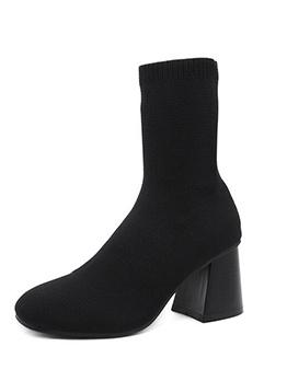 Euro Solid Chunky Heel Fashion Boots
