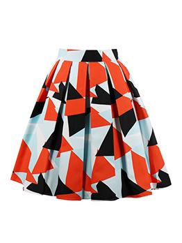 Vintage Geometry Printed Pleated Dress