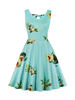 Plus Size Fruit Printed Fitted Pleated Dress