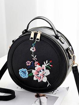 Vintage Style Floral Zipper Round Crossbody Bag