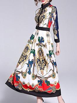 Elegant Contrast Color Single-breasted Maxi Dresses