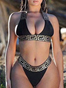 Sexy Hot Sale Geometry Printed Bikini Suit