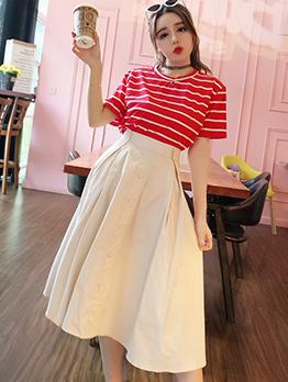 Striped High Waist Casual Women Suit