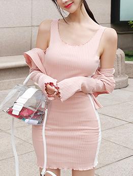 Autumn Korean Hooded Neck Knitting 2 Pieces Dress