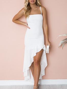 Ruffles Asymmetrical Solid Color Straps Dresses