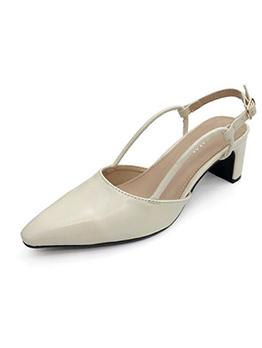 Korean Pointed Chunky Heel Matching Flats
