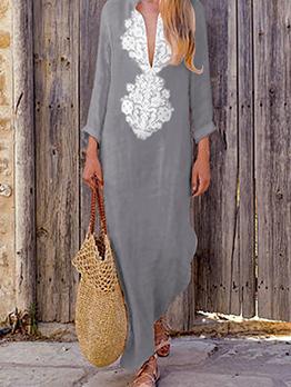 National Deep V Neck Loose Asymmetrical Dress