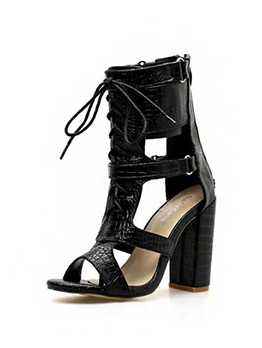 Chic Hollow Out Lace Up Chunky Heel Pumps