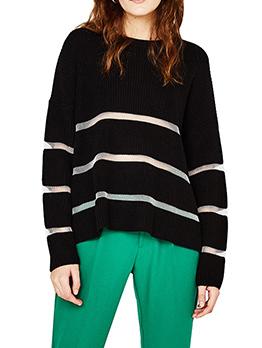 Fashion Crew Neck Gauze Patchwork Sweaters