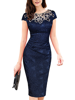 Elegant Rose Lace Patchwork Fitted Dress