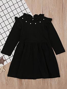 Euro Long Sleeve Girls Black Dress