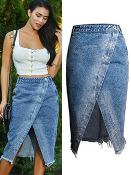 Chic Fitted Fringe Wrapped Irregular Skirt