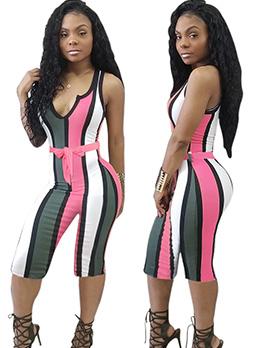 Hot Sale Sexy Striped V Neck Playsuit