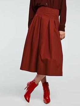 Vintage Solid Pleated Maxi Skirt