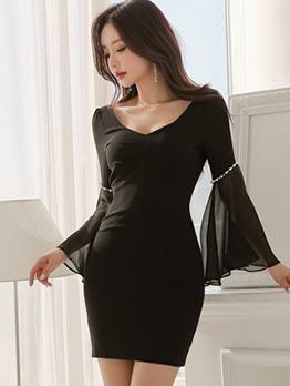 Korean Beading Patchwork Flare Sleeve Black Dresses