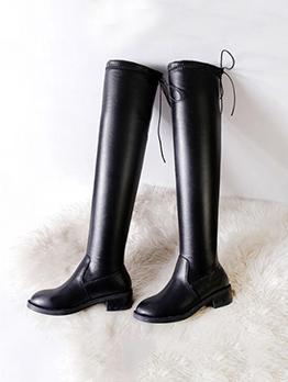 Fashion Solid Chunky Heel Black Boots