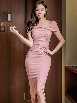 Fashion Off Shoulder Draped Split Dress