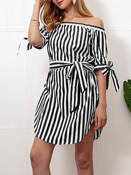 Chic Off Shoulder Short Sleeve Striped Dresses