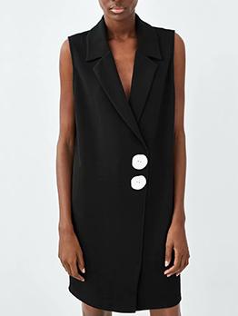 New Arrival Lapel Sleeveless Black Dress