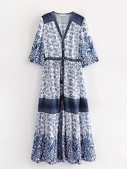Ethnic V-Neck Printed Bohemian Dress