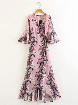Flare Sleeve Printed Chiffon Maxi Dress