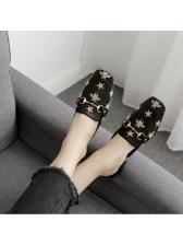 Fashion Printed Square Toe Women Mules Slippers